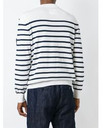 Sacai - White Striped And Embroidered Jumper for Men - Lyst