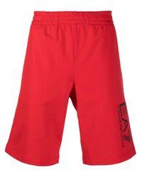 EA7 Red Logo-print Track Shorts for men