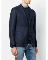 Tagliatore Blue Fitted Blazer With Top Hat Pin for men