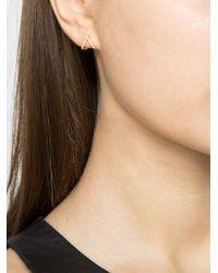 EF Collection Metallic Diamond Chevron huggie Earrings