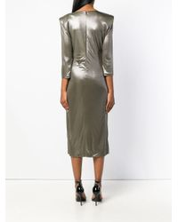 Versace Metallic Draped Neckline Dress