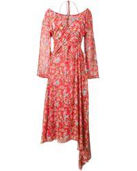 Preen By Thornton Bregazzi Red Corinne Floral Print Off-shoulder Halterneck Dress