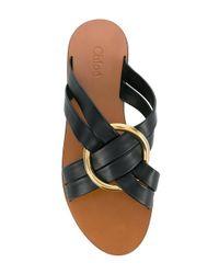 Chloé Black Ring Embellished Slippers