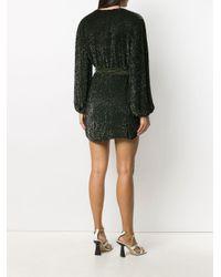 retroféte Green Glitter-embellished Wrap Dress