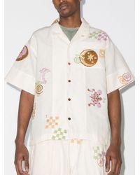 メンズ STORY mfg. Greetings Spiral Trip ショートスリーブシャツ White