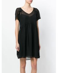 Twin Set - Black V-neck Flared Dress - Lyst