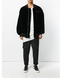 メンズ Unravel Project スカル刺繍 ボンバージャケット Black