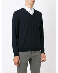 Zanone - Blue V-neck Sweater for Men - Lyst