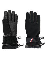 3 MONCLER GRENOBLE Black Padded Logo Plaque Gloves