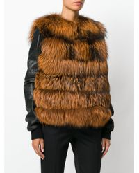 Yves Salomon - Brown Fitted Fur Gilet Jacket - Lyst