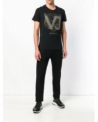 Versace Jeans Black Logo Printed Crew Neck T-shirt for men