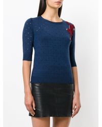 Sonia by Sonia Rykiel | Blue Perforated Animal Patch Top | Lyst