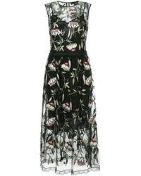 Markus Lupfer Black Sheer Floral Print Dress