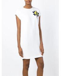 Stella McCartney White Flower To The Chest Silk Dress