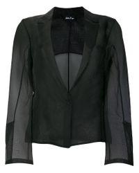 Andrea Ya'aqov Black Sheer Single Breasted Blazer