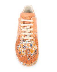 Maison Margiela Orange Embellished Ace Sneakers