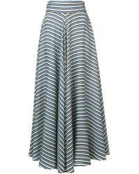 Diane von Furstenberg Green High Waisted Striped Skirt