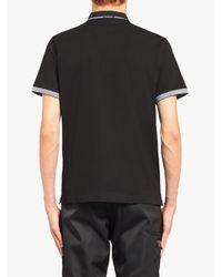 メンズ Prada パネル ポロシャツ Black