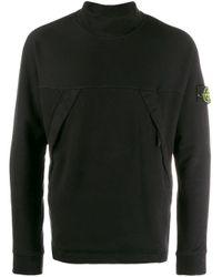 メンズ Stone Island ロゴ タートルネック セーター Black