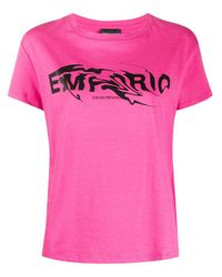 Emporio Armani ロゴ Tシャツ Pink