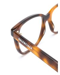 Balenciaga スクエア眼鏡フレーム Brown