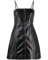 Robe courte à coutures contrastantes Ganni en coloris Black
