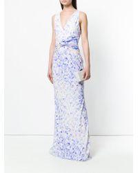 Roberto Cavalli White Watercolour Print Gown