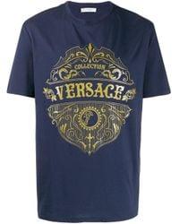 Versace Blue Sheriff Badge Print T-shirt for men