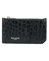 メンズ Saint Laurent クロコ型押し カードケース Black