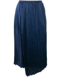 Vince Blue Pleated Midi Skirt