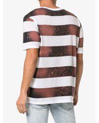 Faith Connexion White Striped Cotton Blend T-shirt for men