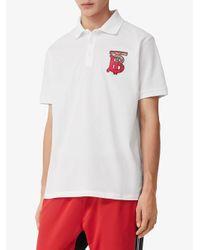 Polo oversize à motif monogrammé Burberry pour homme en coloris White