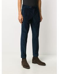 PT01 Blue Tapered Corduroy Trousers for men