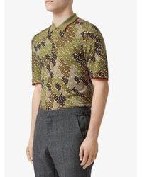 Burberry Green Camouflage Monogram Polo Shirt for men