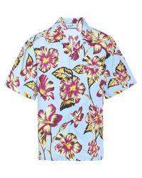 Prada Bowlinghemd mit Hibiskusmuster in Blue für Herren
