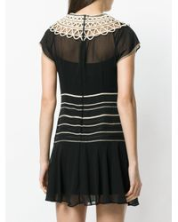 RED Valentino Black Embroidered Flared Dress