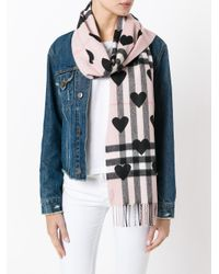 Burberry Multicolor Hearts House Check Scarf