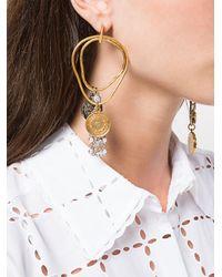 Sonia Rykiel Metallic Asymmetric Coin Earrings