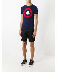 Moncler - Blue Logo Print T-shirt for Men - Lyst