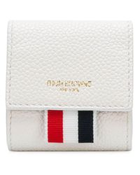 Clasped Leather Small Coin Case Thom Browne pour homme en coloris White