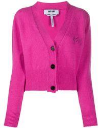 Кардиган С V-образным Вырезом На Пуговицах MSGM, цвет: Pink