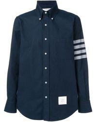 メンズ Thom Browne 4bar ソリッド Rwbストライプシャツ Blue