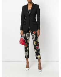 Dolce & Gabbana Black Sacred Heart Printed Cropped Trousers