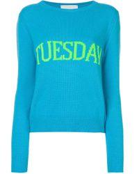 Alberta Ferretti Blue Tuesday Intarsia Jumper