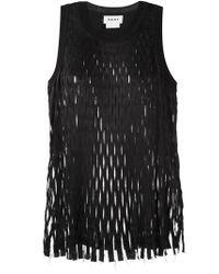 DKNY | Black Laser-Cut Wool-Blend Tank Top | Lyst