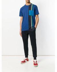 PS by Paul Smith Blue Block-stripe Pocket T-shirt for men