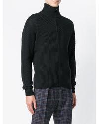 Corneliani Black Rib Knit Zipped Cardigan for men