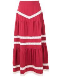 Martha Medeiros Red Nervuras Midi Skirt