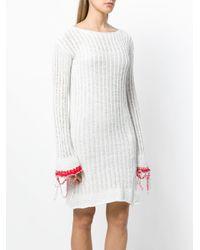 Aviu White Ribbed Knit Dres