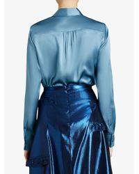 Burberry - Blue Tie-neck Shirt - Lyst